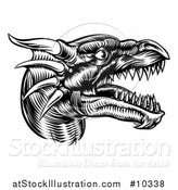Vector Illustration of a Black and White Woodcut Dragon Head in Profile by AtStockIllustration