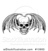 Vector Illustration of a Black and White Woodcut Etched or Engraved Bat or Dragon Winged Skull by AtStockIllustration