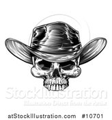 Vector Illustration of a Black and White Woodcut Etched or Engraved Cowboy Skull by AtStockIllustration