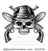 Vector Illustration of a Black and White Woodcut Etched or Engraved Cowboy Skull over Crossed Pistols by AtStockIllustration