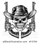 Vector Illustration of a Black and White Woodcut Etched or Engraved Cowboy Skull with Six Shooter Pistols by AtStockIllustration
