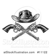 Vector Illustration of a Black and White Woodcut Etched or Engraved Crossed Cowboy Hat over Vintage Revolver Pistols by AtStockIllustration