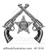 Vector Illustration of a Black and White Woodcut Etched or Engraved Sheriff Star and Crossed Vintage Revolver Pistols by AtStockIllustration