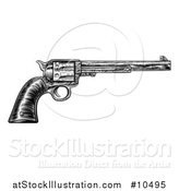 Vector Illustration of a Black and White Woodcut Etched or Engraved Vintage Pistol by AtStockIllustration