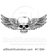Vector Illustration of a Black and White Woodcut Etched or Engraved Winged Human Skull by AtStockIllustration