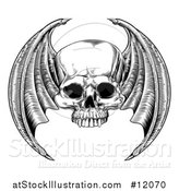 Vector Illustration of a Black and White Woodcut Etched or Engraved Winged Skull by AtStockIllustration