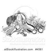 Vector Illustration of a Black and White Woodcut Harvest Vegetables by AtStockIllustration