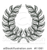 Vector Illustration of a Black and White Woodcut Laurel Wreath by AtStockIllustration