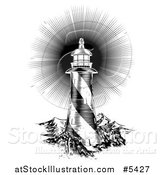 Vector Illustration of a Black and White Woodcut Lighthouse with a Shining Light by AtStockIllustration