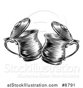 Vector Illustration of a Black and White Woodcut or Engraved Beer Steins or Tankards Chinking Together in a Toast by AtStockIllustration