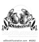 Vector Illustration of a Black and White Woodcut or Engraved Beer Steins or Tankards Chinking Together in a Toast over an Oktoberfest Ribbon Banner by AtStockIllustration