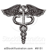 Vector Illustration of a Black and White Woodcut or Engraved Medical Caduceus with Snakes on a Winged Rod by AtStockIllustration