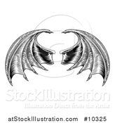 Vector Illustration of a Black and White Woodcut or Engraved Pair of Bat or Dragon Wings by AtStockIllustration