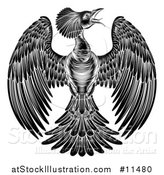 Vector Illustration of a Black and White Woodcut or Engraved Phoenix Firebird by AtStockIllustration