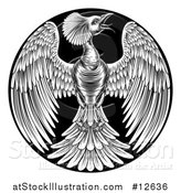 Vector Illustration of a Black and White Woodcut or Engraved Phoenix Firebird in a Circle by AtStockIllustration