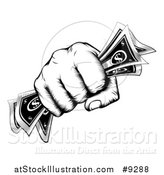 Vector Illustration of a Black and White Woodcut or Engraved Revolutionary Fisted Hand Holding Cash Money by AtStockIllustration
