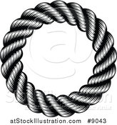 Vector Illustration of a Black and White Woodcut or Engraved Round Nautical Rope Frame by AtStockIllustration