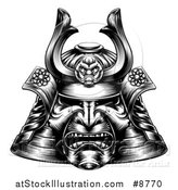 Vector Illustration of a Black and White Woodcut or Engraved Samurai Mask by AtStockIllustration