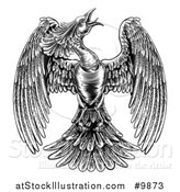 Vector Illustration of a Black and White Woodcut or Engraved Styled Phoenix Firebird by AtStockIllustration