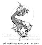Vector Illustration of a Black and White Woodcut Swimming Koi Fish by AtStockIllustration