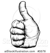 Vector Illustration of a Black and White Woodcut Thumb up Hand by AtStockIllustration