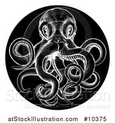 Vector Illustration of a Black and White Woodcut Vintage Octopus in a Black Circle by AtStockIllustration