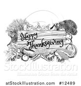 Vector Illustration of a Black and White Wooden Happy Thanksgiving Sign Framed in Produce Vegetables by AtStockIllustration