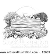 Vector Illustration of a Black and White Wooden Sign Framed in Produce Vegetables by AtStockIllustration