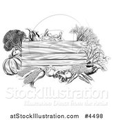 Vector Illustration of a Black and White Wooden Sign with Produce by AtStockIllustration