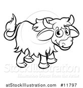 Vector Illustration of a Black and White Yak by AtStockIllustration