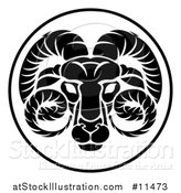 Vector Illustration of a Black and White Zodiac Horoscope Astrology Aquarius Circle Design by AtStockIllustration