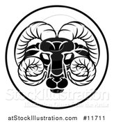 Vector Illustration of a Black and White Zodiac Horoscope Astrology Aries Ram Circle Design by AtStockIllustration