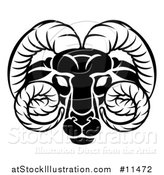 Vector Illustration of a Black and White Zodiac Horoscope Astrology Aries Ram Design by AtStockIllustration