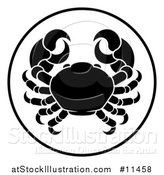 Vector Illustration of a Black and White Zodiac Horoscope Astrology Cancer Crab Circle Design by AtStockIllustration