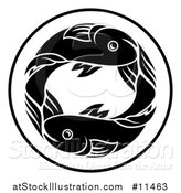 Vector Illustration of a Black and White Zodiac Horoscope Astrology Pisces Fish Circle Design by AtStockIllustration