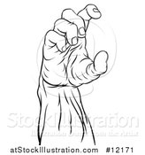 Vector Illustration of a Black and White Zombie Hand Holding a by AtStockIllustration