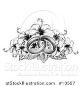 Vector Illustration of a Black and Winte Vintage Woodcut or Engraved Entwined Wedding Rings on a Hibiscus Flower Bouquet by AtStockIllustration