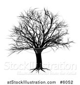 Vector Illustration of a Black Bare Tree Silhouette by AtStockIllustration