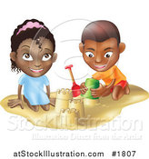 Vector Illustration of a Black Boy and Girl Building Sand Castles Together by AtStockIllustration