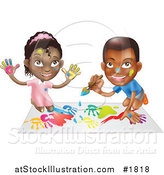 Vector Illustration of a Black Boy and Girl Hand Painting and Painting Together by AtStockIllustration