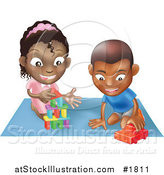 Vector Illustration of a Black Boy and Girl Playing with Toys on a Floor Together by AtStockIllustration