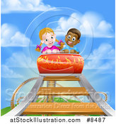 Vector Illustration of a Black Boy and White Girl on a Roller Coaster Ride, Against a Blue Sky with Clouds by AtStockIllustration