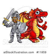 Vector Illustration of a Black Boy Knight by a Red Dragon by AtStockIllustration