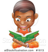 Vector Illustration of a Black Boy Sitting on a Floor and Reading a Green Book by AtStockIllustration
