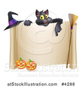 Vector Illustration of a Black Cat over a Scroll Sign with a Witch Hat Broomstick and Halloween Pumpkins by AtStockIllustration