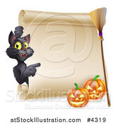 Vector Illustration of a Black Cat Pointing to a Scroll Sign with a Witch Broomstick and Halloween Pumpkins by AtStockIllustration