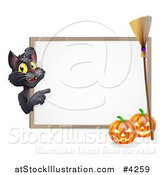 Vector Illustration of a Black Cat Pointing to a White Board Halloween Sign with Pumpkins and a Broomstick by AtStockIllustration