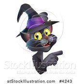 Vector Illustration of a Black Cat Wearing a Witch Hat and Pointing at a Sign by AtStockIllustration