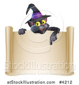 Vector Illustration of a Black Cat Wearing a Witch Hat and Pointing down at a Halloween Scroll Sign by AtStockIllustration
