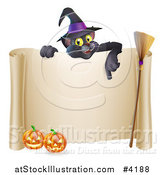 Vector Illustration of a Black Cat Wearing a Witch Hat and Pointing down at a Halloween Sign with Pumpkins and a Broomstick by AtStockIllustration